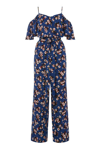Warehouse, MAE FLORAL FRILL JUMPSUIT Blue Pattern 0