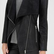 Warehouse, Cowl Neck Faux Leather Jacket Black 4