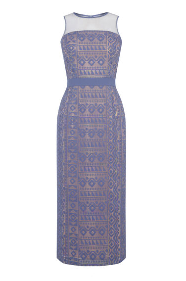 Warehouse, LACE PENCIL DRESS Light Blue 0