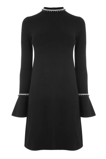 Warehouse, EMBELLISHED FLARE CUFF DRESS Black 0