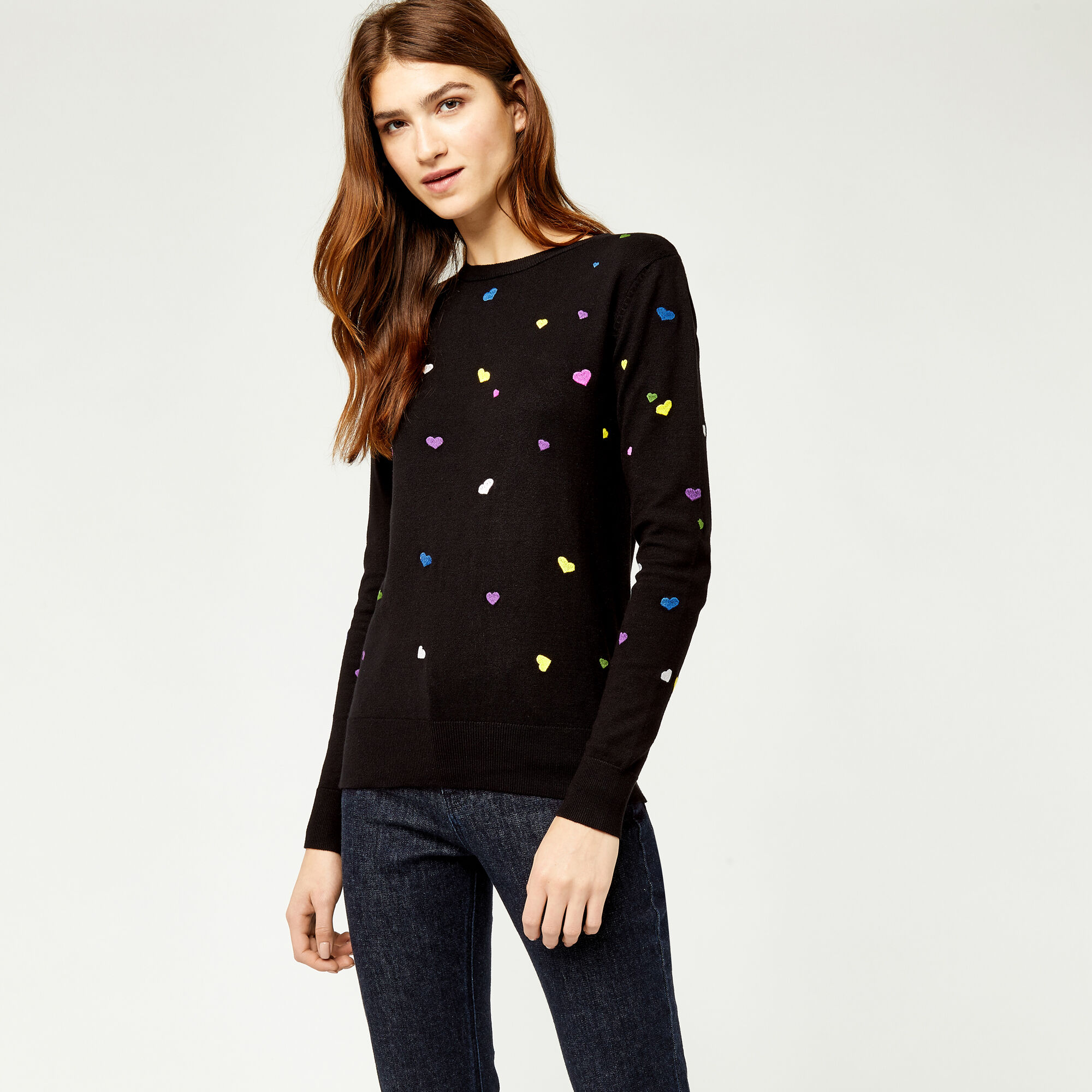 Warehouse, HEART EMBROIDERED JUMPER Black 1