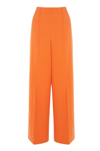 Warehouse, PINTUCK WIDE LEG TROUSERS Orange 0