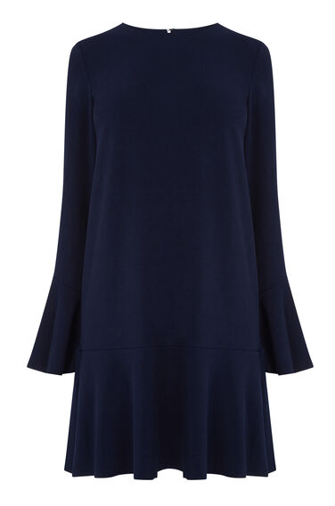 Warehouse, FLUTE SLEEVE DRESS Navy 0
