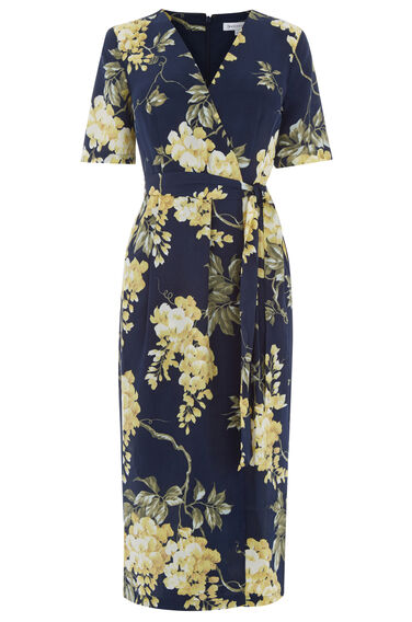 Warehouse, WISTERIA FLORAL WRAP DRESS Blue Pattern 0