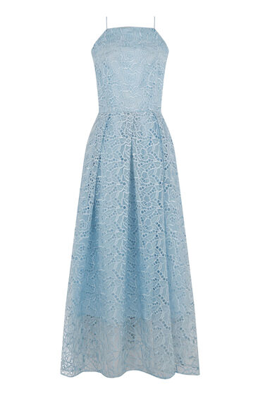 Warehouse, STRAPPY LACE MIDI DRESS Light Blue 0