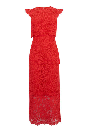 Warehouse, LACE TIERED MIDI DRESS Bright Red 0