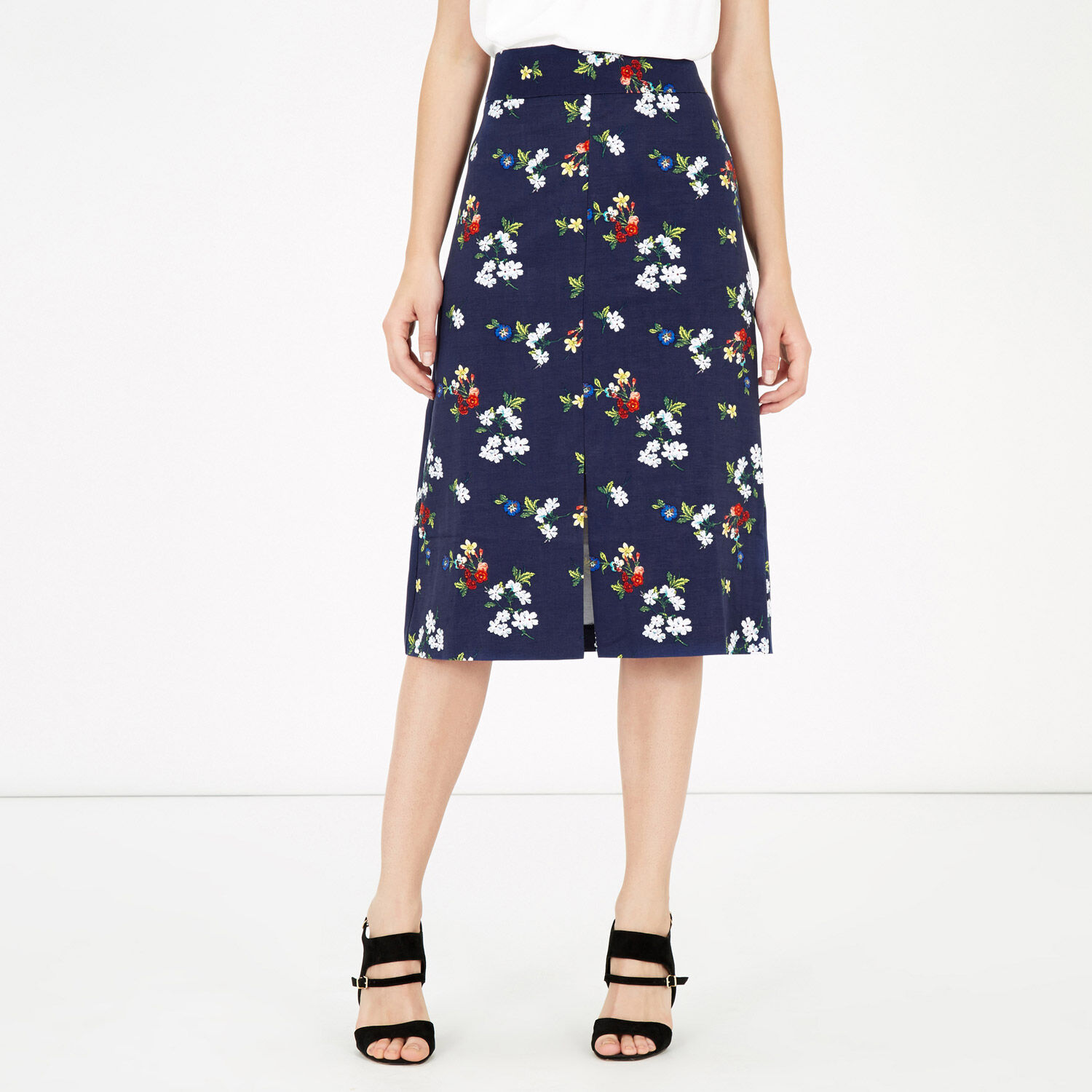 Warehouse, SPACED FLORAL MIDI SKIRT Navy 1