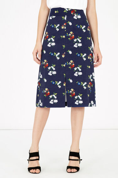 Warehouse, SPACED FLORAL MIDI SKIRT Navy 0