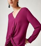 Warehouse, KNOT FRONT LONG SLEEVE TOP Raspberry 4