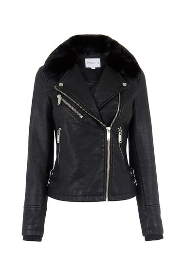 Warehouse, Faux Fur Collar Biker Jacket Black 0