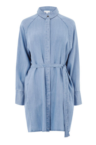 Warehouse, Batwing Belted Denim Shirt Light Wash Denim 0