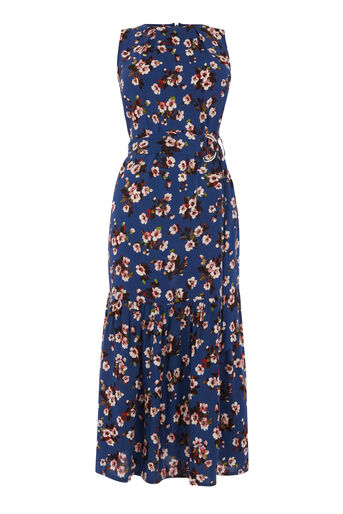 Warehouse, MAE FLORAL MIDI DRESS Blue Pattern 0