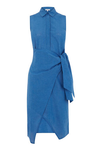 Warehouse, TIE SIDE SHIRT DRESS Bright Blue 0