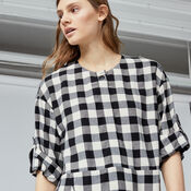 Warehouse, GINGHAM POPPER DRESS Black Pattern 4