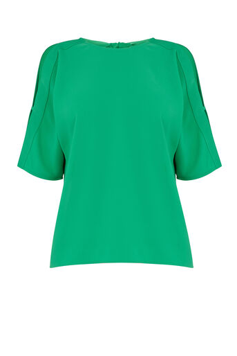 Warehouse, TIE BACK SLEEVE DETAIL TOP Bright Green 0