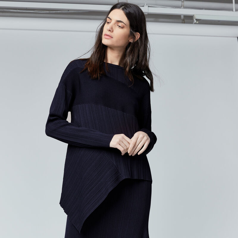 Warehouse, MULTI RIB ASYMMETRIC JUMPER Navy 1