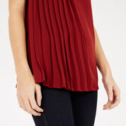 Warehouse, PLEAT FRONT SHELL TOP Dark Red 4