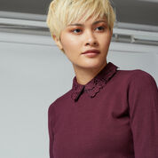 Warehouse, LACE COLLAR DETAIL JUMPER Berry 4
