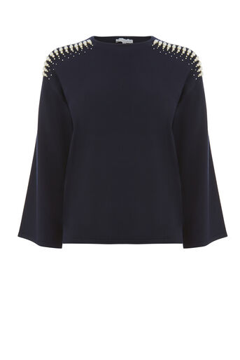 Warehouse, PEARL SHOULDER JUMPER Navy 0
