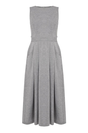 Warehouse, OPEN BACK MIDI DRESS Grey Pattern 0