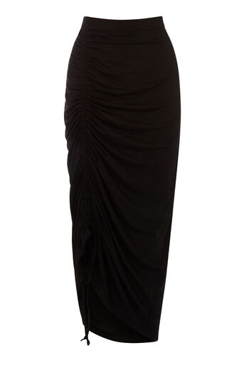 Warehouse, RUCHED FRONT MIDI SKIRT Black 0