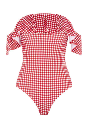 Warehouse, GINGHAM BARDOT SWIMSUIT Red Pattern 0