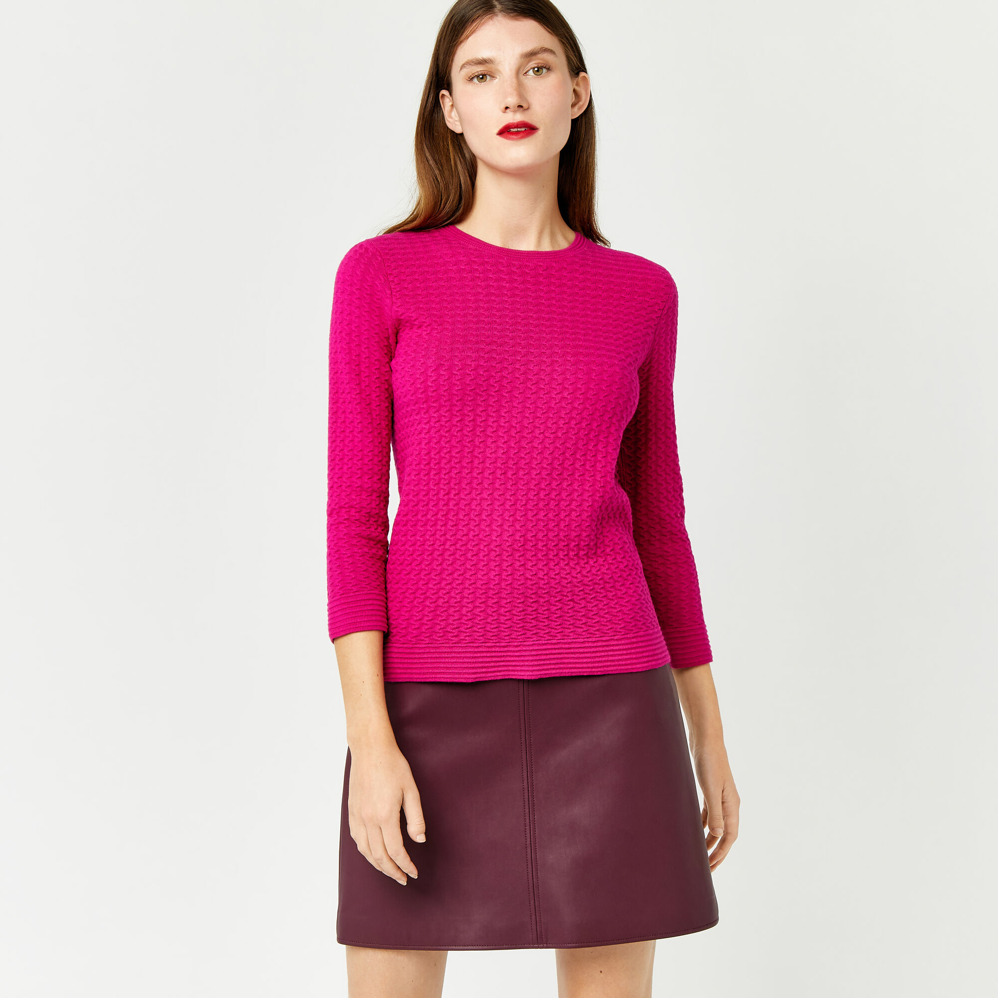 Warehouse, RIPPLE STITCH JUMPER Bright Pink 1