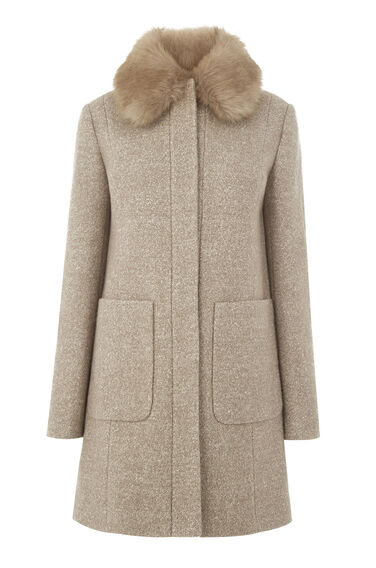 Warehouse, Swing Faux Fur Collar Coat Beige 0