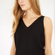Warehouse, V NECK V BACK SHELL TOP Black 4