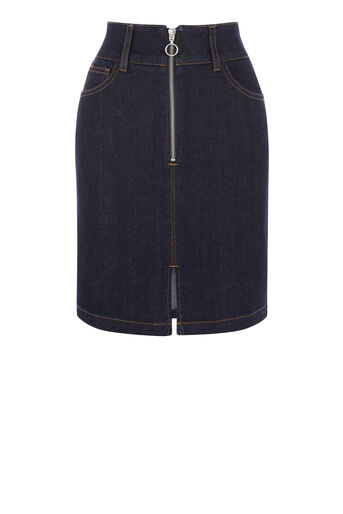 Warehouse, ZIP THROUGH SKIRT Indigo Denim 0