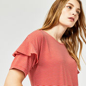 Warehouse, STRIPE FRILL SLEEVE TEE Red Stripe 4