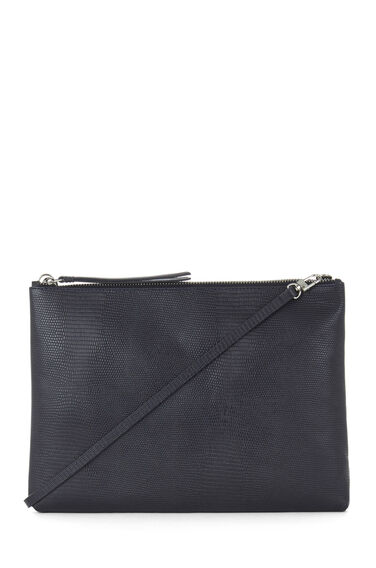 Warehouse, Leather Textured Clutch Bag Navy 0