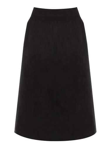 Warehouse, Suedette Midi Skirt Black 0