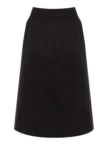Warehouse, Suedette Midi Skirt Black 0