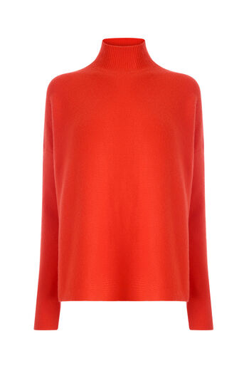 Warehouse, RIBBED BOXY TURTLE NECK JUMPER Bright Red 0