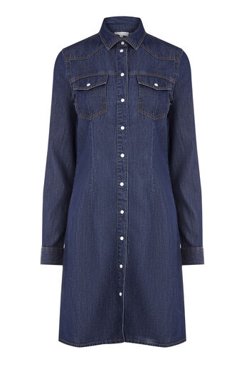 Warehouse, WESTERN SHIRT DRESS Dark Wash Denim 0
