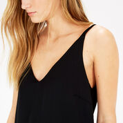 Warehouse, PLEAT BACK WOVEN FRONT CAMI Black 4