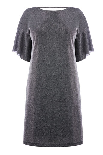 Warehouse, METALLIC TUNIC DRESS Silver Colour 0