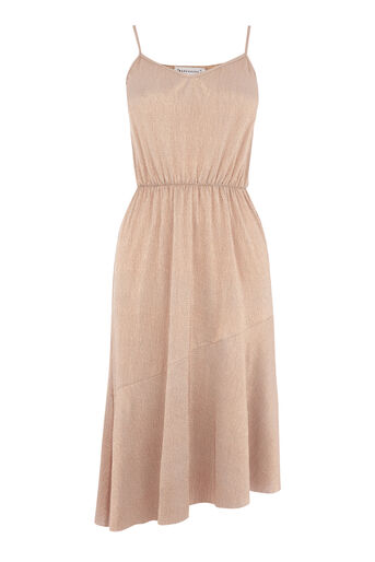 Warehouse, METALLIC CAMI MIDI DRESS Copper Colour 0