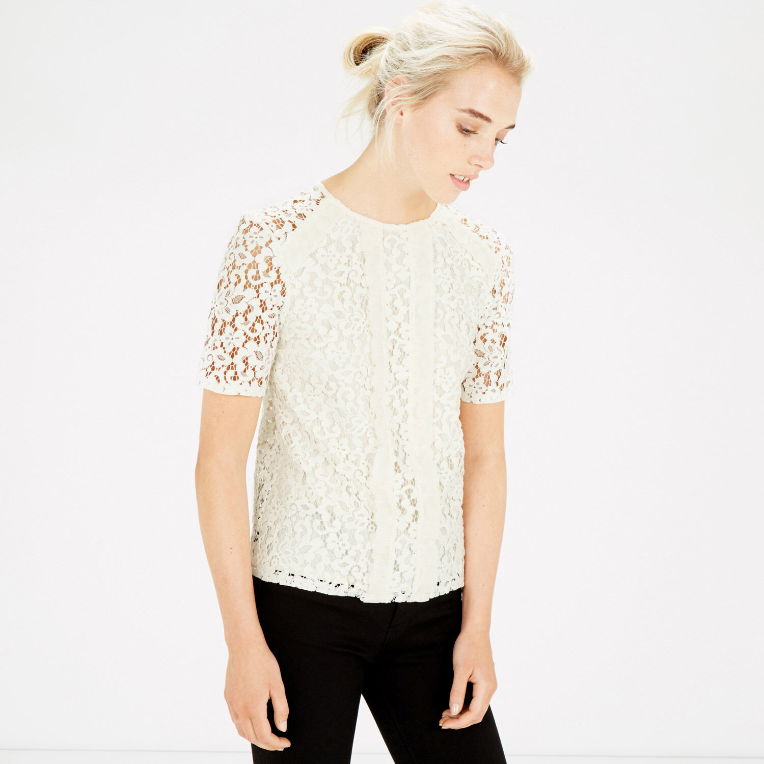 Warehouse, PANELLED LACE TOP Cream 1