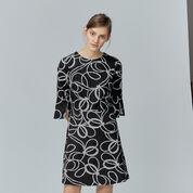 Warehouse, ROPE PRINT PONTE DRESS Black Pattern 1