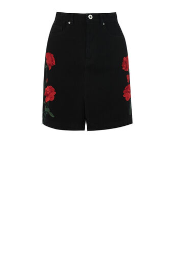 Warehouse, EMBROIDERED PELMET SKIRT Black 0