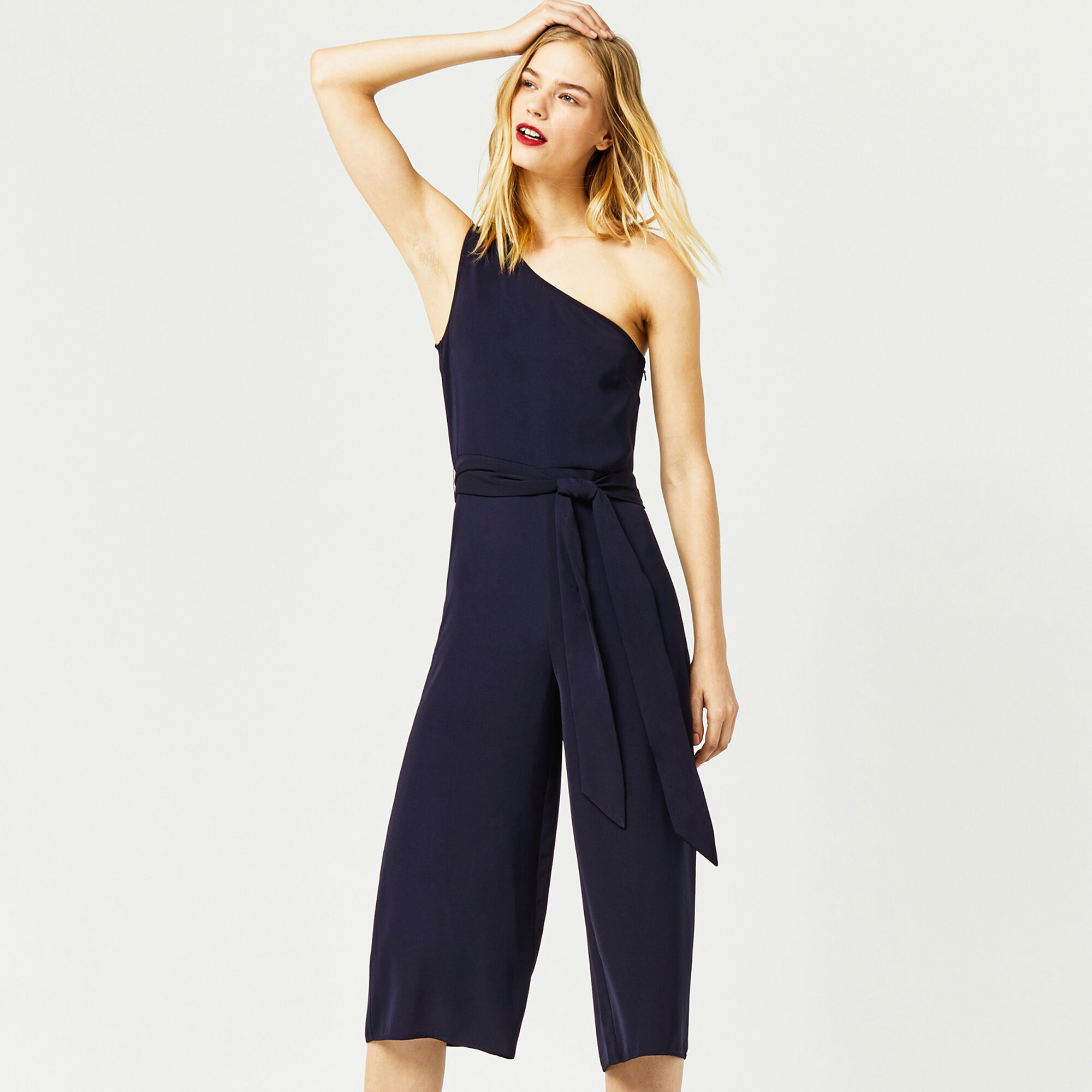 Warehouse, ONE SHOULDER JUMPSUIT Navy 1