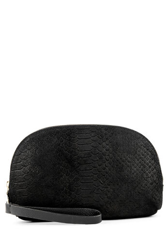 Warehouse, SUEDE EMBOSSED CLUTCH BAG Black 0