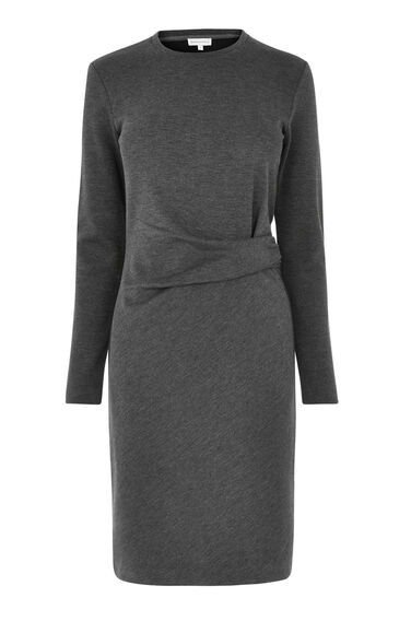 Warehouse, SIDE ROUCHED DETAIL DRESS Dark Grey 0