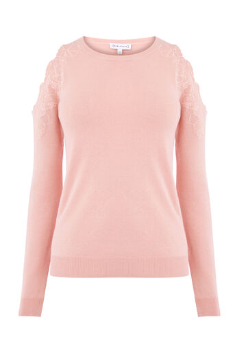 Warehouse, EMBROIDERED CUT OUT JUMPER Light Pink 0