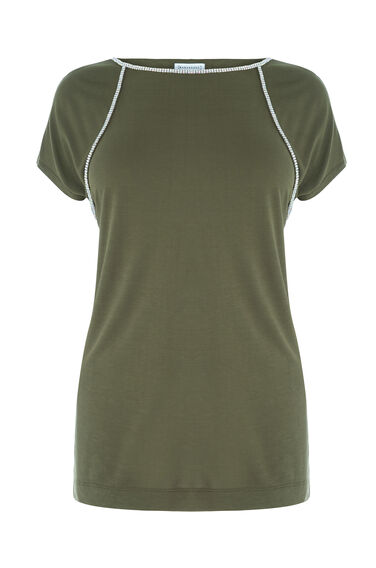 Warehouse, RAGLAN DIAMONTE TEE Khaki 0
