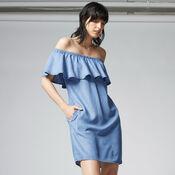 Warehouse, Off Shoulder Denim Dress Light Wash Denim 1