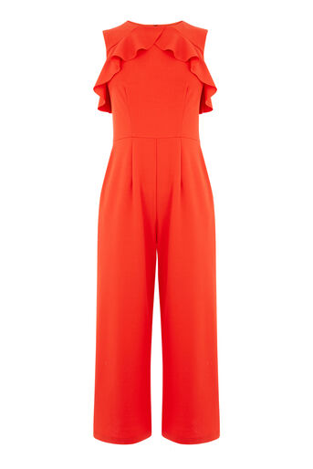 Warehouse, CREPE OPEN BACK FRILL JUMPSUIT Bright Red 0