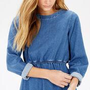 Warehouse, Long Sleeve Midi Dress Light Wash Denim 4